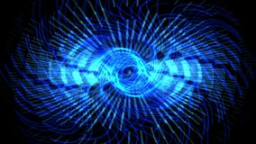 4k蓝色漩涡齿轮激光,能量技术,辐射科学,脉冲扇动风 影视素材