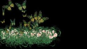 4k蝴蝶豪华的花瓣留给庄稼灌木灌木植物草生长 向量例证