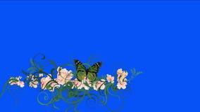 4k蝴蝶豪华的花瓣留给庄稼灌木灌木植物草生长 库存例证
