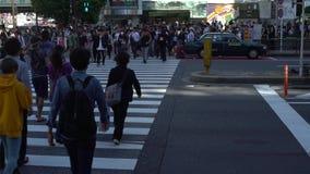 4K行人交叉路人群在涩谷东京 争夺行人穿越道日本 股票视频