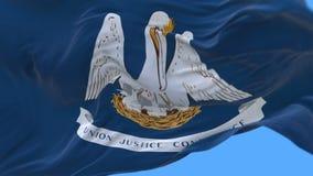 4k路易斯安那美国各州旗子缓慢挥动在风 包括的阿尔法通道 库存例证
