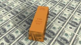 4k转动在美元背景的金锭,财富锭豪华财务物品 皇族释放例证