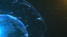 4K转动的地球的loopable 3d动画与一个生长全球网络的 向量例证