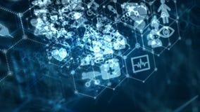 4K通过与医疗和健康象的小点和连接线提取背景动画移动的通行证技术未来派的网络的 向量例证