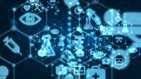 4K通过与医疗和健康象的小点和连接线提取背景动画移动的通行证技术未来派的网络的 库存例证