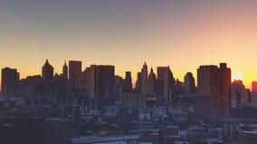 4k都市日出,纽约,现代企业大厦剪影 影视素材