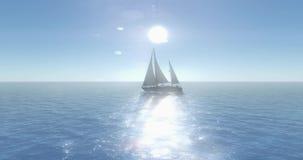 4k风船航行在海,亮光太阳,宽海浪浮出水面 皇族释放例证