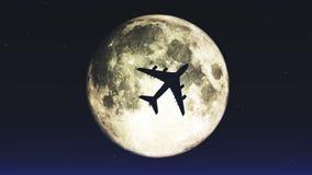 4k飞机那横穿月亮 库存例证