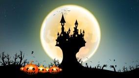 4K黑暗的抽象与鬼魂棒恶魔的背景万圣夜动画移动的满月递与拷贝空间的树元素与grai 库存例证