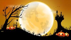 4K黑暗的抽象与鬼魂棒恶魔的背景万圣夜动画移动的满月递与拷贝空间的树元素与grai 皇族释放例证