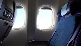 4k,旅行航空 行在内部飞机的位子客舱 在飞机里面 股票录像