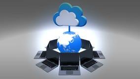4k,更新情报云彩,转动地球和膝上型计算机,云彩计算的概念 股票视频