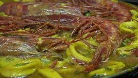 4k,烹调海鲜肉菜饭,tipical可口西班牙食物 影视素材
