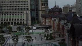 4K a élevé la vue de la station de Tokyo Gare ferroviaire dans le Marunouchi, Japon banque de vidéos