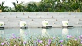 4K άνευ ραφής βρόχος Ξάπλωμα της καρέκλας κοντά σε μια πισίνα με το πράσινο υπόβαθρο δέντρων φύσης και του όμορφου λουλουδιού στο απόθεμα βίντεο
