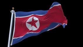 4k άνευ ραφής σημαία Βόρεια Κορεών που κυματίζει στον αέρα Άλφα κανάλι συμπεριλαμβανόμενο απόθεμα βίντεο