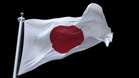 4k άνευ ραφής σημαία της Ιαπωνίας που κυματίζει στον αέρα Άλφα κανάλι συμπεριλαμβανόμενο απόθεμα βίντεο