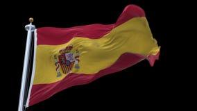 4k άνευ ραφής σημαία της Ισπανίας που κυματίζει στον αέρα Άλφα κανάλι συμπεριλαμβανόμενο απόθεμα βίντεο