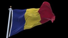 4k άνευ ραφής σημαία της Ρουμανίας που κυματίζει στον αέρα Άλφα κανάλι συμπεριλαμβανόμενο απεικόνιση αποθεμάτων