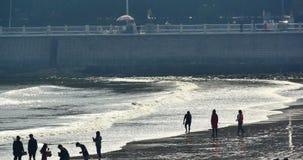 4k άνθρωποι που παίζουν στην παραλία, την πλυμένη κύματα άμμο, μεγάλα κύματα και κύμα qingdao Κίνα απόθεμα βίντεο