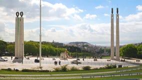 4K άποψη του Edward VII πάρκο στη Λισσαβώνα, Πορτογαλία - UHD απόθεμα βίντεο