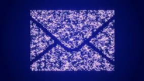 4k ένας φουτουριστικός πίνακας κυκλωμάτων με την κίνηση των ηλεκτρονίων διαμόρφωσε το σύμβολο ηλεκτρονικού ταχυδρομείου φιλμ μικρού μήκους