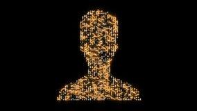 4k ένας φουτουριστικός πίνακας κυκλωμάτων με την κίνηση των ηλεκτρονίων διαμόρφωσε το σύμβολο χρηστών φιλμ μικρού μήκους