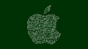 4k ένας φουτουριστικός πίνακας κυκλωμάτων με την κίνηση των ηλεκτρονίων διαμόρφωσε apple inc το εμπορικό σήμα απεικόνιση αποθεμάτων