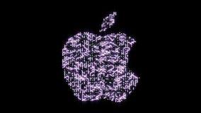 4k ένας φουτουριστικός πίνακας κυκλωμάτων με την κίνηση των ηλεκτρονίων διαμόρφωσε apple inc το εμπορικό σήμα διανυσματική απεικόνιση