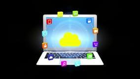 4k, έννοια Διαδικτύου, εικονίδια υπηρεσία online, κοινωνικά μέσα γύρω από τον υπολογιστή σύννεφων φιλμ μικρού μήκους