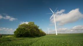 4k ανεμοστρόβιλοι που παράγουν την ηλεκτρική ενέργεια σε έναν πράσινο τομέα του σίτου φιλμ μικρού μήκους