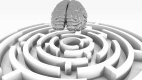 4k ασημένιος εγκέφαλος επάνω από το λαβύρινθο, τεχνητή νοημοσύνη ελεύθερη απεικόνιση δικαιώματος