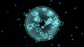 4k αφηρημένο διάστημα πολυγώνων scifi, έκρηξη μορίων σπορίων βακτηριδίων μικροβίων διανυσματική απεικόνιση