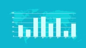4k γραφική παράσταση επιχειρησιακών στοιχείων, οικονομικοί αριθμοί και διαγράμματα που παρουσιάζουν αυξανόμενα κέρδη απόθεμα βίντεο
