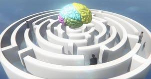 4k εγκέφαλος χρώματος επάνω από το λαβύρινθο, επιχειρηματίες που στέκεται, τεχνητή νοημοσύνη απεικόνιση αποθεμάτων