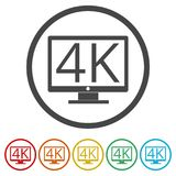 4K εικονίδιο TV, υπερβολικό εικονίδιο HD 4K, 6 χρώματα συμπεριλαμβανόμενα Στοκ Φωτογραφίες