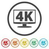 4K εικονίδιο TV, υπερβολικό εικονίδιο HD 4K, 6 χρώματα συμπεριλαμβανόμενα Στοκ Εικόνες