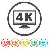 4K εικονίδιο TV, υπερβολικό εικονίδιο HD 4K, 6 χρώματα συμπεριλαμβανόμενα Στοκ Φωτογραφία