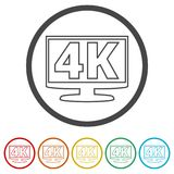 4K εικονίδιο TV, υπερβολικό εικονίδιο HD 4K, 6 χρώματα συμπεριλαμβανόμενα Στοκ φωτογραφία με δικαίωμα ελεύθερης χρήσης