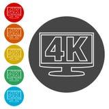 4K εικονίδιο TV, υπερβολικό εικονίδιο HD 4K Στοκ Εικόνα