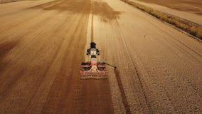 4K Εναέρια άποψη της διαδικασίας γεωργίας: το τρακτέρ οργώνει και κάνει τη σπορά, σπέρνοντας τις γεωργικές συγκομιδές στον τομέα απόθεμα βίντεο