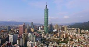 4K εναέρια άποψη της οικονομικής περιοχής στην πόλη της Ταϊπέι απόθεμα βίντεο