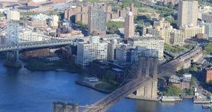 4K εναέρια άποψη UltraHD του Μανχάταν και των γεφυρών του Μπρούκλιν απόθεμα βίντεο