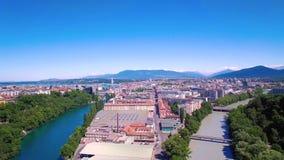 4K εναέριο μήκος σε πόδηα της πόλης της Γενεύης στην Ελβετία - UHD φιλμ μικρού μήκους