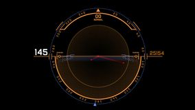 4k επίδειξη οθόνης τεχνολογίας σημάτων ΠΣΤ ραντάρ, ναυσιπλοΐα υπολογιστών στοιχείων της sci-Fi επιστήμης ελεύθερη απεικόνιση δικαιώματος