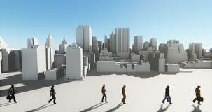 4k επιχειρηματίες που περπατούν στο μέτωπο του αφηρημένου αστικού κτηρίου, επιχειρησιακή αυτοκρατορία φιλμ μικρού μήκους