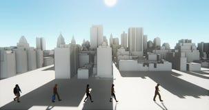 4k επιχειρηματίες που περπατούν στο μέτωπο του αφηρημένου αστικού κτηρίου, επιχειρησιακή αυτοκρατορία ελεύθερη απεικόνιση δικαιώματος