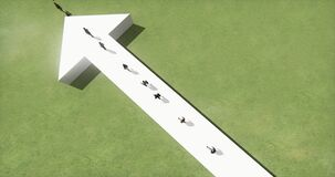 4k επιχειρηματίες που περπατούν στο τρισδιάστατο άσπρο βέλος απεικόνιση αποθεμάτων