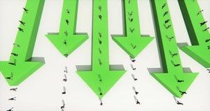 4k επιχειρηματίες που περπατούν στο τρισδιάστατο βέλος διανυσματική απεικόνιση