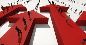 4k επιχειρηματίες που περπατούν στο τρισδιάστατο βέλος απεικόνιση αποθεμάτων
